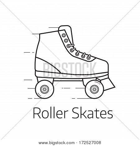 Retro roller skates vector illustration. Alternative city transport sport roller blades in thin line design. Personal transportation equipment.