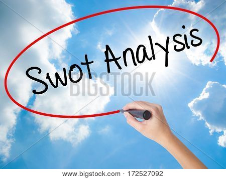 Woman Hand Writing Swot Analysis With Black Marker On Visual Screen.