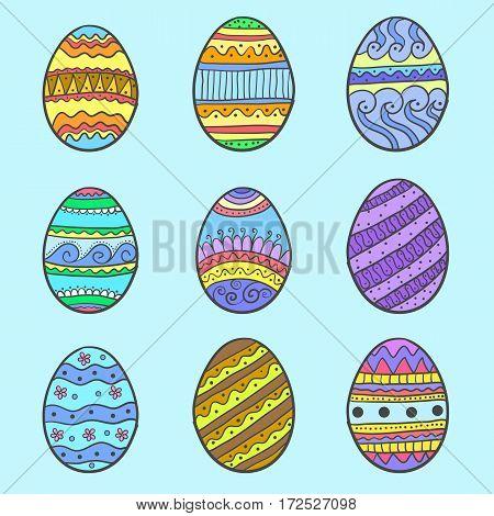 Doodle of easter egg set object vector art