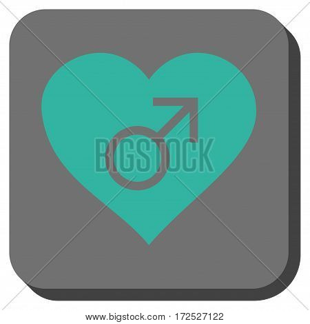 Male Love Heart rounded button. Vector pictogram style is a flat symbol inside a rounded square button cyan and gray colors.