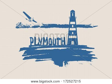 Lighthouse on brush stroke seashore. Clouds line with retro airplane icon. Vector illustration. Dundee city name text.