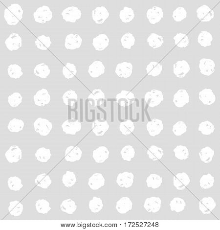 White squares on a grey background. Vector hand drawn seamless pattern