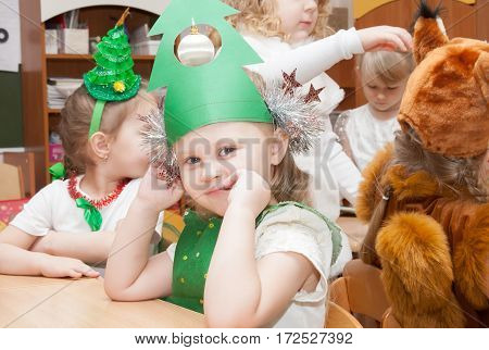 St. Petersburg, Russia - December 28: Festively Dressed Children Are Engaged In Kindergarten,russia