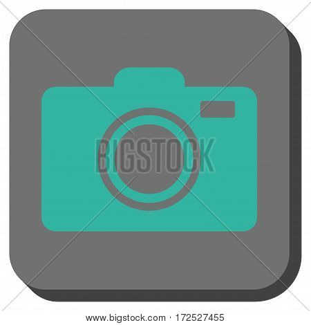 Photo Camera interface toolbar icon. Vector pictogram style is a flat symbol on a rounded square button cyan and gray colors.