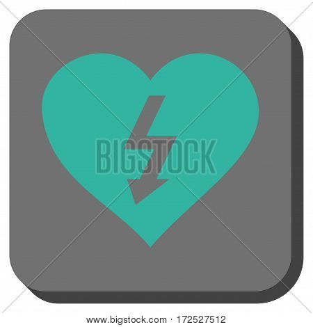 Power Love Heart interface toolbar button. Vector pictograph style is a flat symbol in a rounded square button cyan and gray colors.