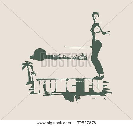 Kung Fu martial art silhouette of woman in sword fight pose. Woman posing on grunge brush stroke. Cloudscape and palm on backdrop. Kung Fu text