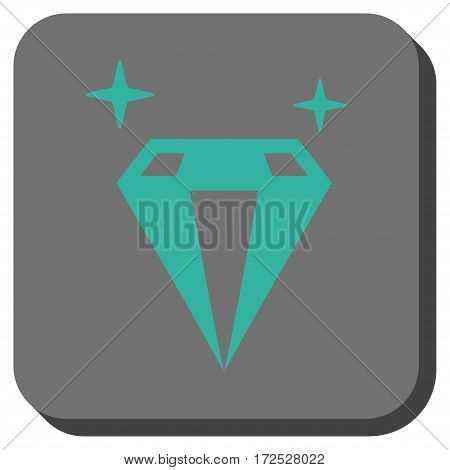 Sparkle Diamond Crystal toolbar button. Vector pictogram style is a flat symbol centered in a rounded square button, cyan and gray colors.