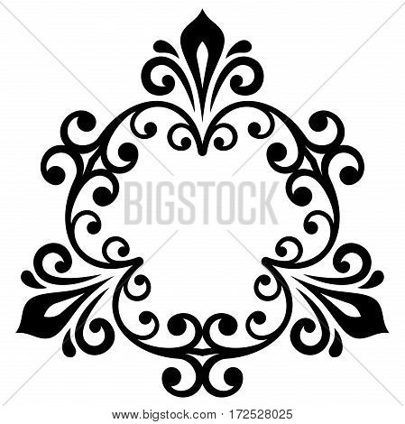 Elegant vector black and white ornament in classic style. Abstract traditional pattern with oriental elements, Classic vintage pattern