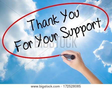 Woman Hand Writing Thank You For Your Support  With Black Marker On Visual Screen