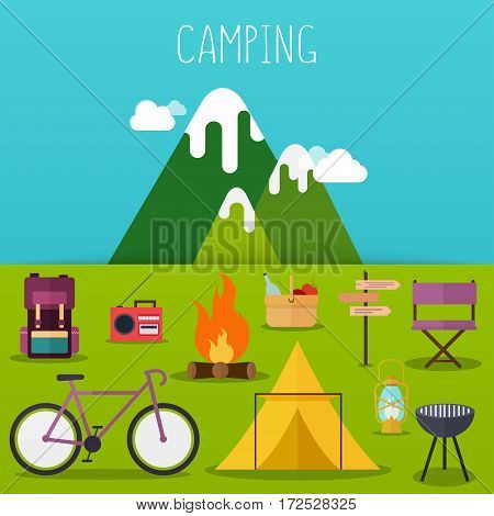 Сamping and outdoor recreation concept with flat camping travel icons. Vector illustration.
