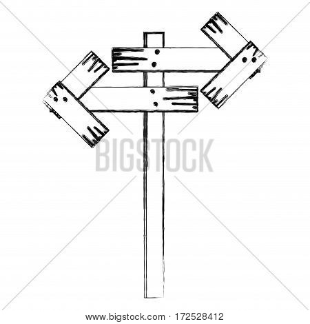 monochrome contour of wooden sign for directions