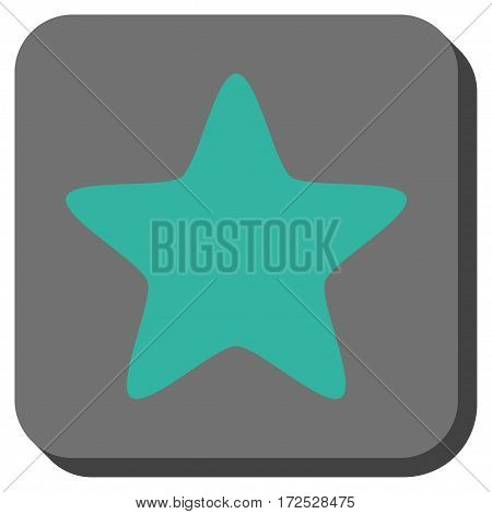 Star toolbar button. Vector pictograph style is a flat symbol in a rounded square button, cyan and gray colors.