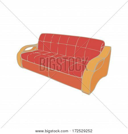 Vector red sofa design isolated cartoon illustration. Double furniture with a modern style.