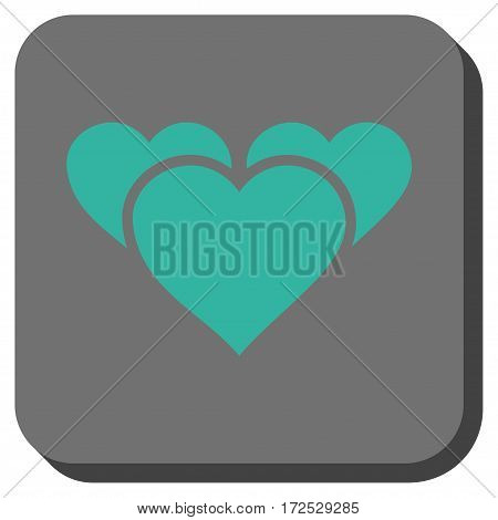 Valentine Hearts interface toolbar icon. Vector pictogram style is a flat symbol inside a rounded square button, cyan and gray colors.