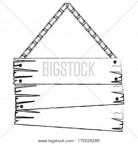 monochrome contour of old wooden sign board with chains vector illustration