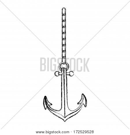 monochrome contour hand drawing of anchor with chain vector illustration
