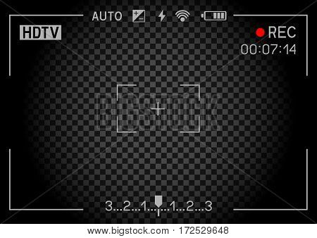 Camera viewfinder rec on transparent black background. Record video snapshot photography