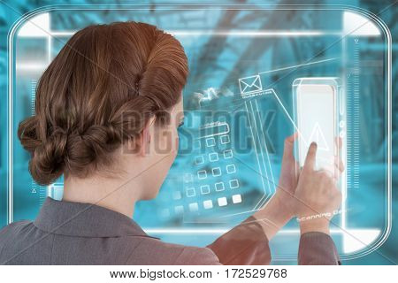 Businesswoman using mobile phone against blue vignette background