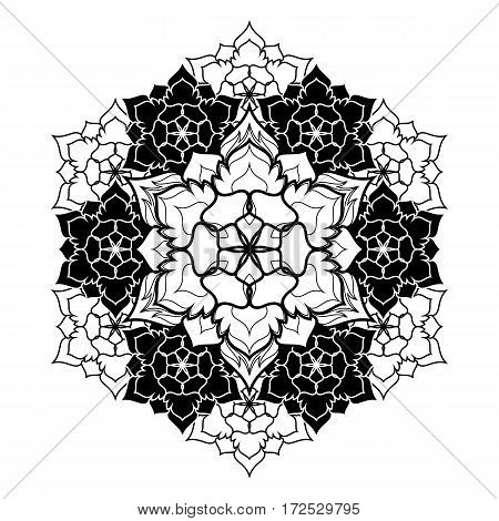 Mandala Round Ornament Pattern. Boho vintage style vector background. Hand drawn design. Ethnic motifs.