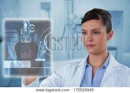 Beautiful female doctor using imaginative screen against medical examination room 3d