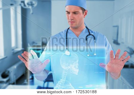 Surgeon pretending to be using futuristic digital screen against skeleton graphic on blue with lights 3d