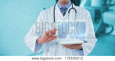 Male doctor using digital tablet against skeleton graphic on blue with lights 3d