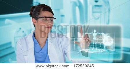 Smiling female scientist conducting experiment against medical interface in blue and black 3d