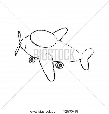 monochrome contour hand drawing of cartoon airplane transport icon design vector illustration