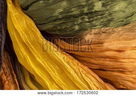 colored orange crinkled crumpled silk fabric textured