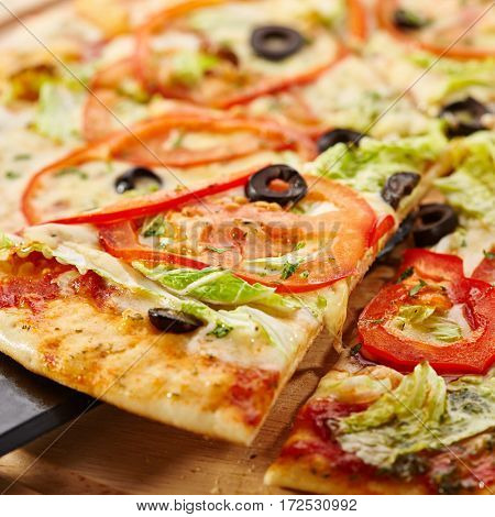 Vegetarian Pizza - Pizza with Mozzarella, Sauce, Tomatoes and Salad Leaves