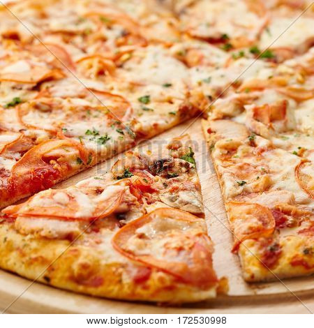 Traditional Italian Pizza - Pizza with Mozzarella, Bacon and Mushrooms