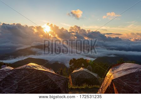 Sunrise at Doi Ang Khang in Chiang Mai, Thailand. View from the camping