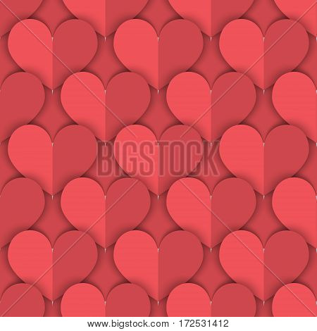 Seamless Background of Salmon Color Hearts Made in Paper-Like Design.  Vector EPS 10.