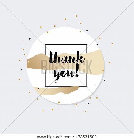 Thank you card with gold decoration. Vector illustration.