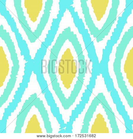 Colourful rhombus background. Vector hand drawn seamless pattern