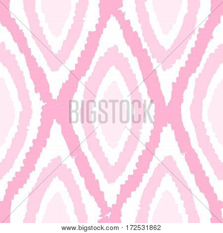 Pink monochrome rhombus seamless pattern. Vector hand drawn background