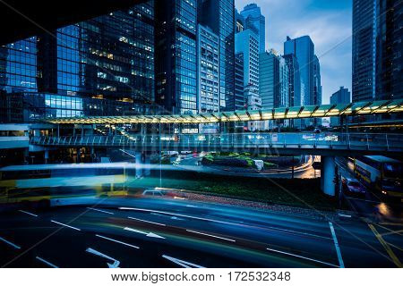 urban traffic with cityscape in Nanchang China.