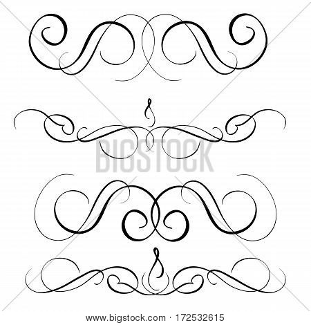 art calligraphy set of vintage decorative whorls for design. Vector illustration EPS10.