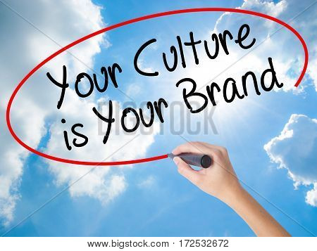Woman Hand Writing Your Culture Is Your Brand With Black Marker On Visual Screen
