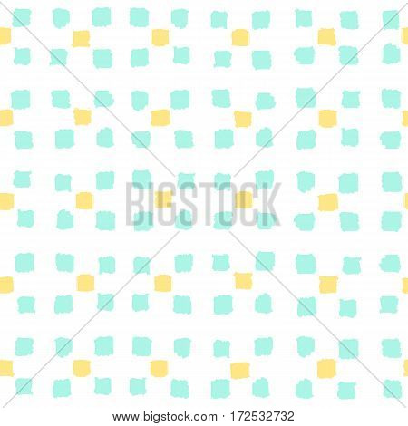 Small paint squares background. Vector hand drawn seamless pattern