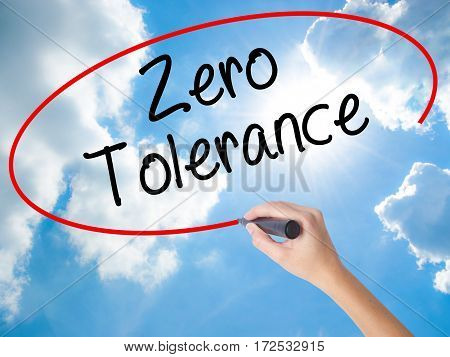 Woman Hand Writing Zero Tolerance With Black Marker On Visual Screen