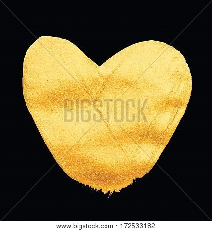Vector shining gold heart. Watercolor texture brush strokes isolated on black. Abstract hand painted golden background