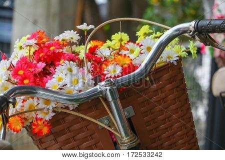 flower in basket bicycle classic vintage with copy space for add text