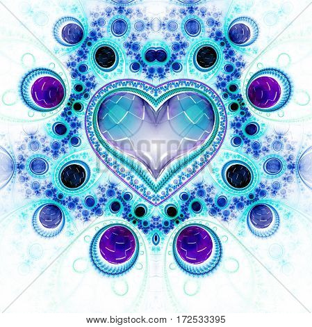 Abstract Ornamented Heart With Gems. Fantasy Detailed Fractal Background In Violet, Black And Blue C
