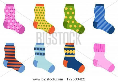 Flat design colorful socks set vector illustration. Selection of various foot warm cloth. Textile fabric pair cute decoration wool winter sport season collection.