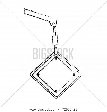 monochrome contour hand drawing of crane hook holding a diamond traffic sign close up vector illustration