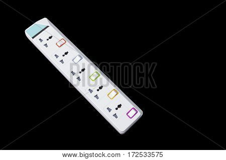 white plug socket electric power bar isolated on black background
