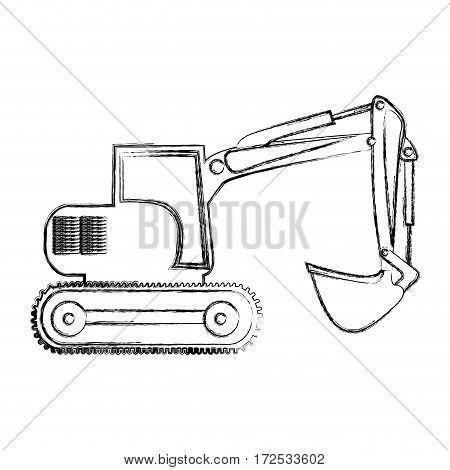 monochrome contour hand drawing of backhoe vector illustration