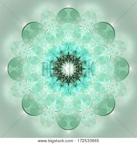 Abstract Exotic Flower. Psychedelic Mandala Design In Cyan Blue And Grey Colors. Fantasy Fractal Art