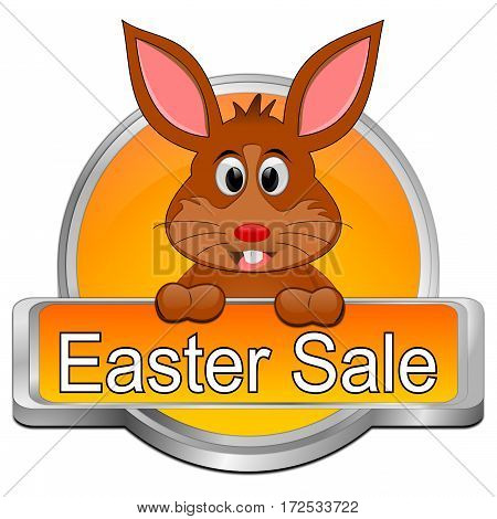 orange Easter sale button - 3D illustration